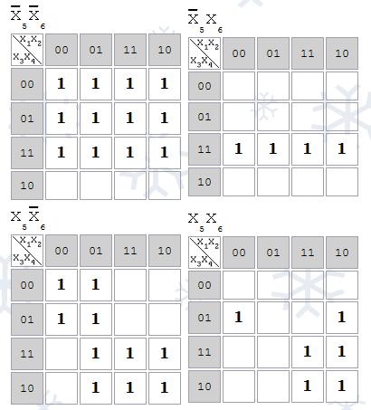 Карты Карно для 6 переменных